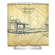 Airplane Patent Drawing From 1921-vintage Shower Curtain