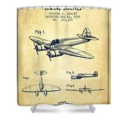Airplane Patent Drawing From 1938-vintage Shower Curtain