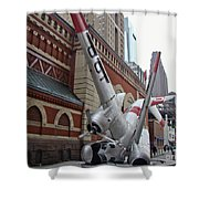 Airplane Sculpture In Philadelphia Pa - Navy S2f Shower Curtain