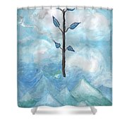 Airy Ace Of Wands Shower Curtain