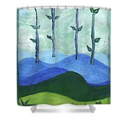 Airy Four Of Wands Shower Curtain