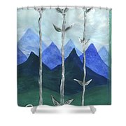 Airy Three Of Wands Shower Curtain