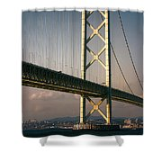Akashi Kaikyo Bridge Sunset Shower Curtain