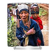 Akha Tribe II Paint Filter Shower Curtain