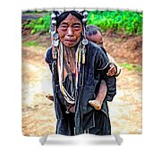 Akha Tribe Paint Filter Shower Curtain