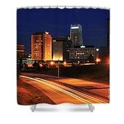 D1u-140 Akron Ohio Night Skyline Photo Shower Curtain
