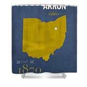 Akron Zips Ohio College Town State Map Poster Series No 007 Shower Curtain