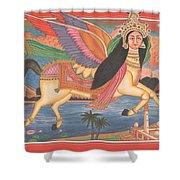 Al Buraq Dul Dul Horse Prophet Muhammad Painting Handmade Islamic Paper Painting Folk Art Shower Curtain
