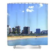 Ala Moana Beach Park And Diamond Head Shower Curtain