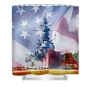 Battleship Alabama And Flag Shower Curtain