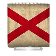 Alabama State Flag Art On Worn Canvas Shower Curtain by Design Turnpike