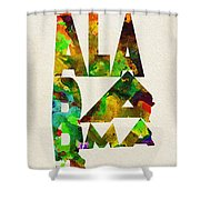 Alabama Typographic Watercolor Map Shower Curtain