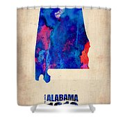 Alabama Watercolor Map Shower Curtain by Naxart Studio