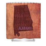 Alabama Word Art State Map On Canvas Shower Curtain