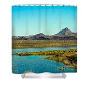 Alamo Lake Shower Curtain by Robert Bales