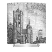 Alarming Morning In Ghent. The Left Part Of The Triptych - The Age Of Cathedrals Shower Curtain
