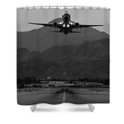 Alaska Airlines Palm Springs Takeoff Shower Curtain by John Daly
