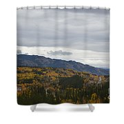 Alaska Highway At Lewes River Bridge  Shower Curtain