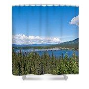 Alaska Highway Steel Bridge Teslin Yukon Canada Shower Curtain