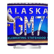 Alaska License Plate Shower Curtain
