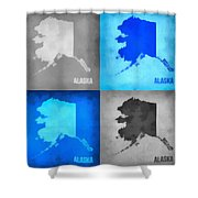 Alaska Map Art Shower Curtain