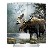 Alaska Moose With Floatplane Shower Curtain by Regina Femrite