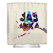 Alaska Typographic Watercolor Map Shower Curtain