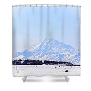 Alaska Winter Wonderland Mount Redoubt Shower Curtain