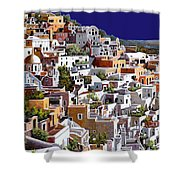 alba a Santorini Shower Curtain by Guido Borelli