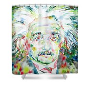 Albert Einstein Watercolor Portrait.1 Shower Curtain