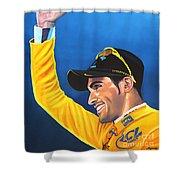 Alberto Contador Shower Curtain by Paul Meijering