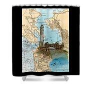 Alcatraz Island Lighthouse Ca Nautical Chart Map Art Shower Curtain