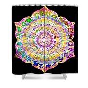 Alchemical Lotus Zodiac Shower Curtain