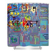 Alef Bais 1h Shower Curtain