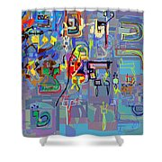 Alef Bais 1k Shower Curtain
