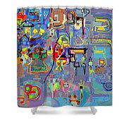 Alef Bais 1q Shower Curtain