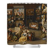 Alexander The Great Visiting The Studio Of Apelles Shower Curtain