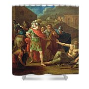 Alexander The Great Visits Diogenes At Corinth, 1787 Oil On Canvas Shower Curtain