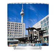 Alexanderplatz View On Television Tower Berlin Germany Shower Curtain