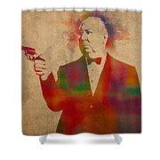 Alfred Hitchcock Watercolor Portrait On Worn Parchment Shower Curtain