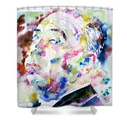 Alfred Hitchcock Watercolor Portrait.1 Shower Curtain