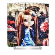 Alice In Wonderland Shower Curtain by Mo T