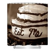Alice's Eat Me Cake  Shower Curtain