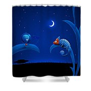 Alien And Chameleon Shower Curtain by Gianfranco Weiss