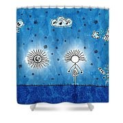 Alien Blue Shower Curtain