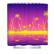 Alien Fire Flowers Shower Curtain