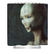 Alien Grey Thoughtful  Shower Curtain