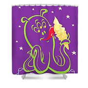 Alien Ice Cream -vector Version Shower Curtain by Martin Davey