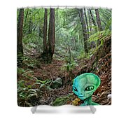 Alien In Redwood Forest Shower Curtain