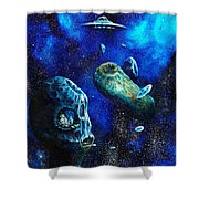 Alien Space Hideout Shower Curtain by Murphy Elliott